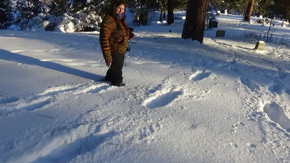 Kelly standing beside large tracks in the snow