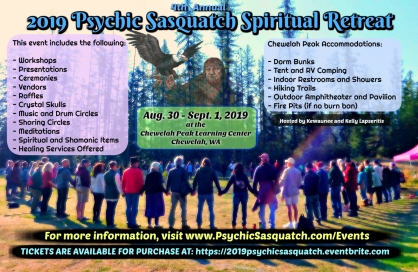 tickets for the 2019 psychic sasquatch spiritual retreat now on sale